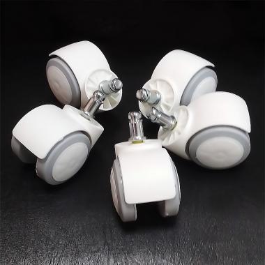 Набор белых роликов под паркет/ламинат для офисных кресел
